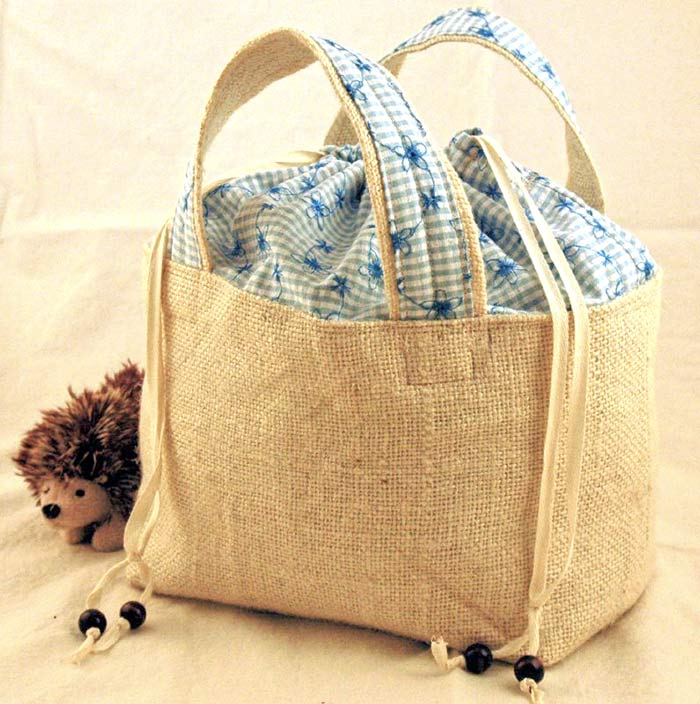 Burlap drawstring lunch bag which I sewed and sold online and at craft fairs