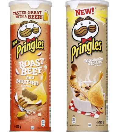 Pringles chips in France: roast beef and mushroom + mushroom and cream