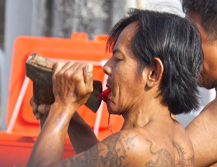 The Phuket vegetarian festival can be quite shocking for tourists