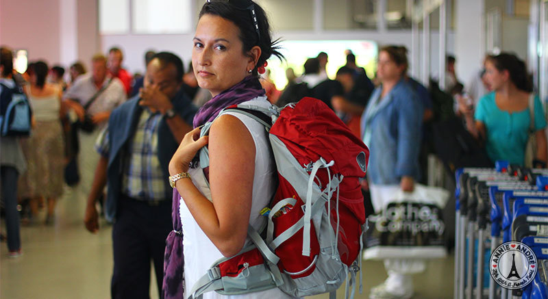 photo of me at the airport in Marseille France with a backpack