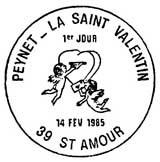 cancellation postmark stamp issued by the post office of Saint-Valentin