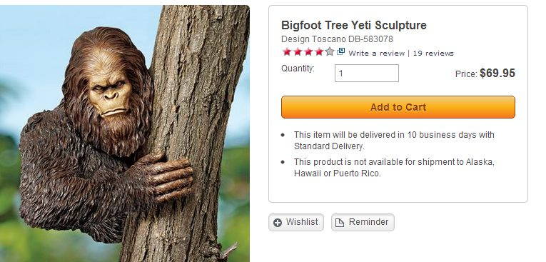 bigfoot tree yeti sculpture: stupid skymall products you can buy