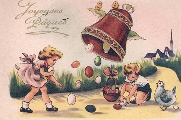Easter card flying bells with kids collecting chocolate eggs