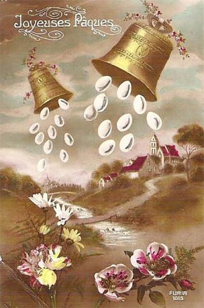 Easter card flying bells dropping eggs