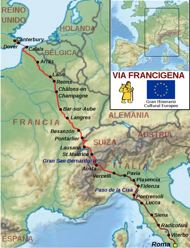 Pilgrimage route to Rome: via francigena