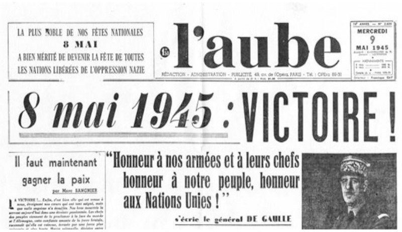 8th of may newspaper in France announcing victory in Europe and the surrender of the Nazi Germany