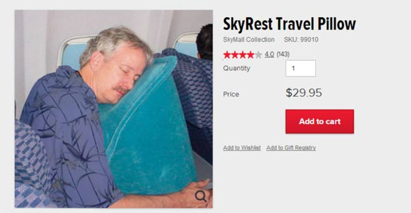 Skyrest Travel Pillow: stupid skymall products you can buy