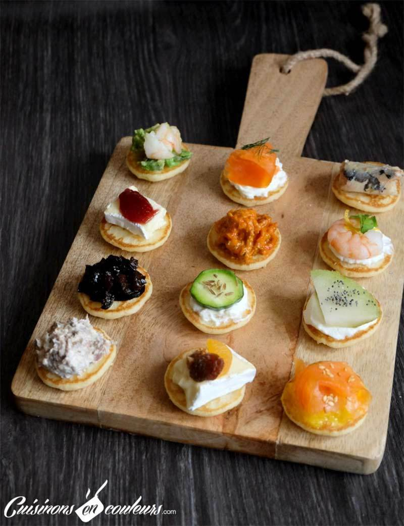 French Blini's are a popular food choice at French New Years Eve dinner parties