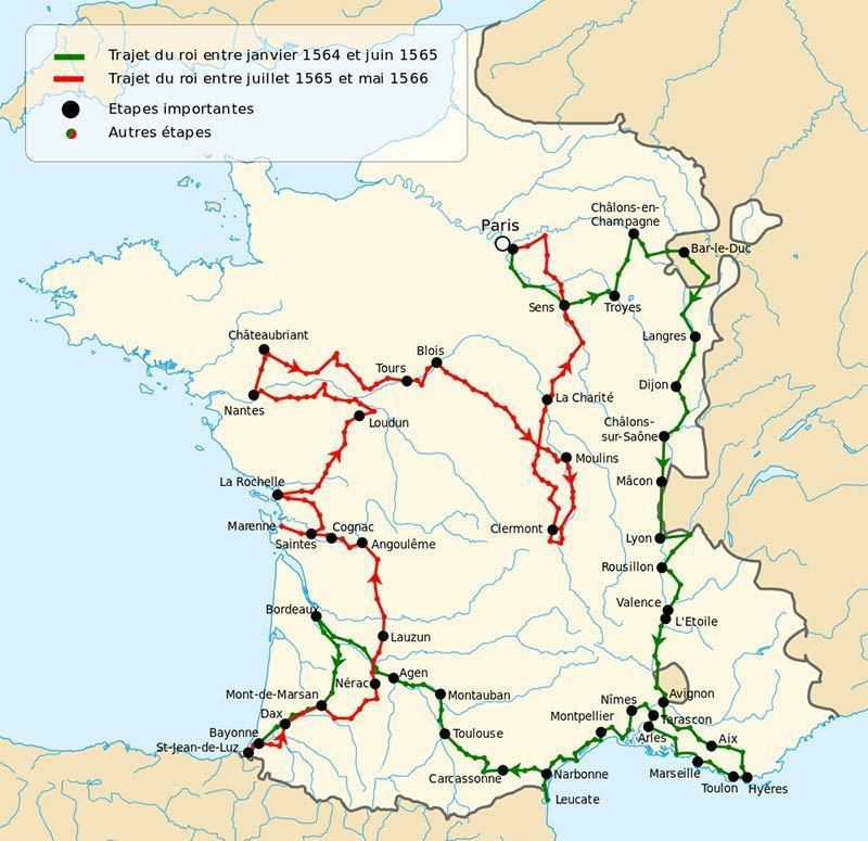 Map of the Grand tour around French kindgom: Charles IX