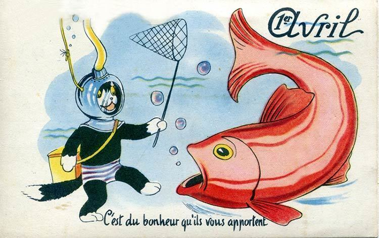 A vintage poisson d'avril post card from France