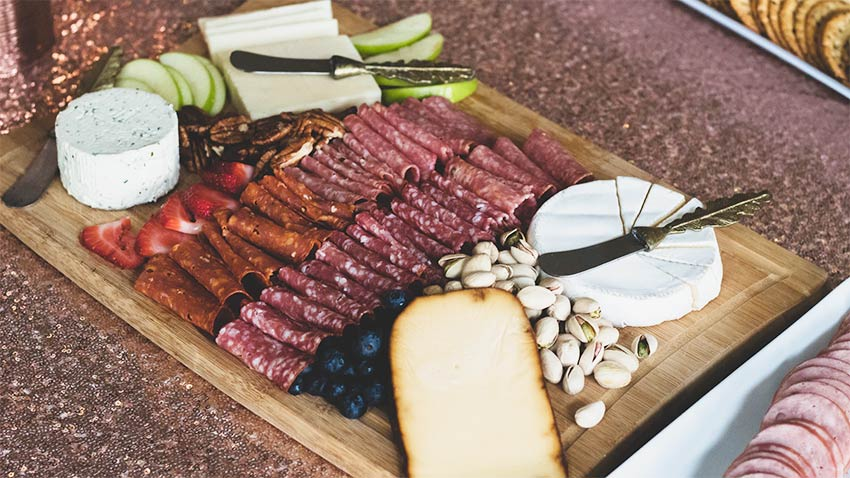 Charcuterie board with cheese