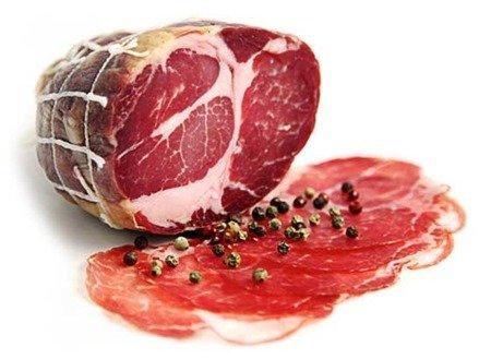 coppa: A popular type of cured meat eaten in France