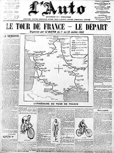 First tour de France newspaper announcement (photo)