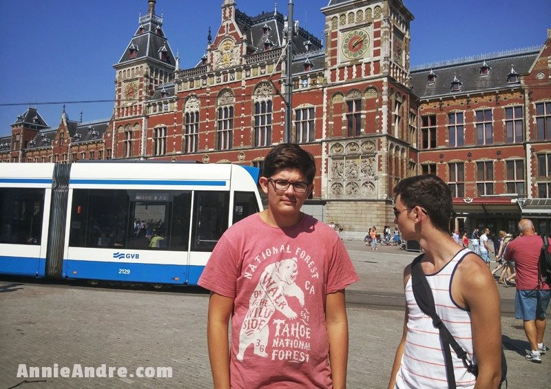 train stations always put you in the middle of all the action so you can hit the grond running. Pictures is the Amsterdam central station and a passing tram