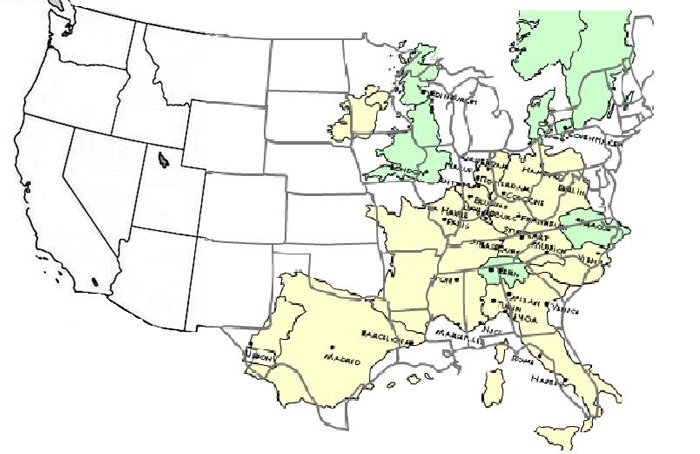 europe is relatively small compared to the US. It can fit 2,5 times in side of the USA. Which means travelling across Europe is relatively easy
