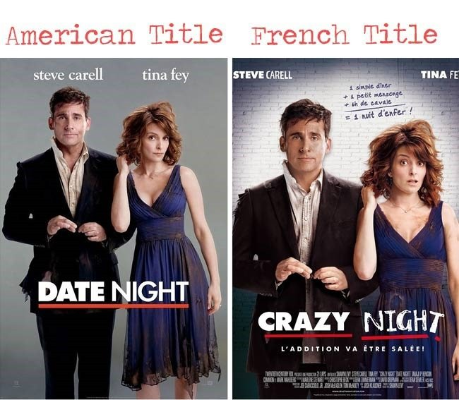 Date night movie = crazy night movie title for French audience