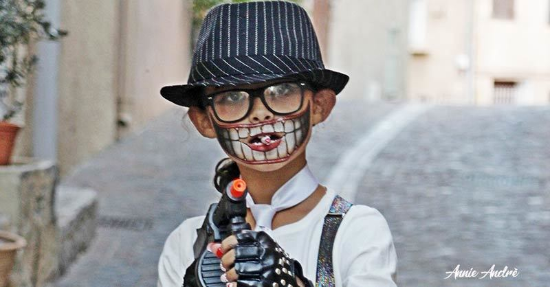 photo of Catherine dressed up for Halloween in La Garde France