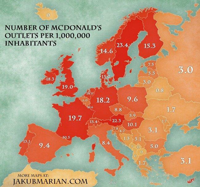 Percapita consumption of McDonalds in Europe