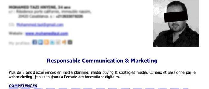 French-resume-headline-example