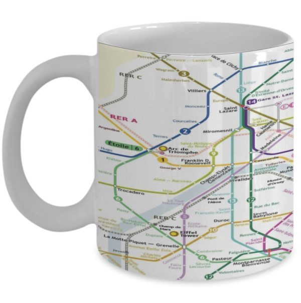 Paris map coffee mug