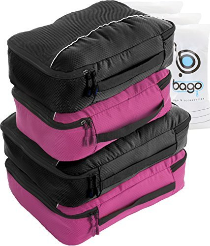 4 travel packing cubes to organize our luggage