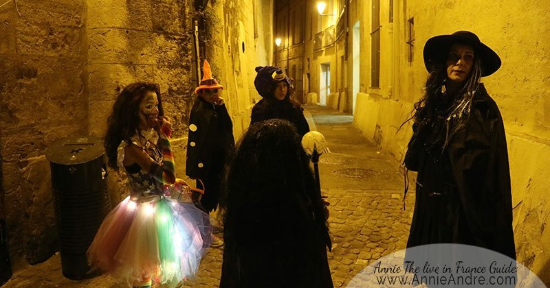 Trick-or-treating in the medieval part of Montpellier