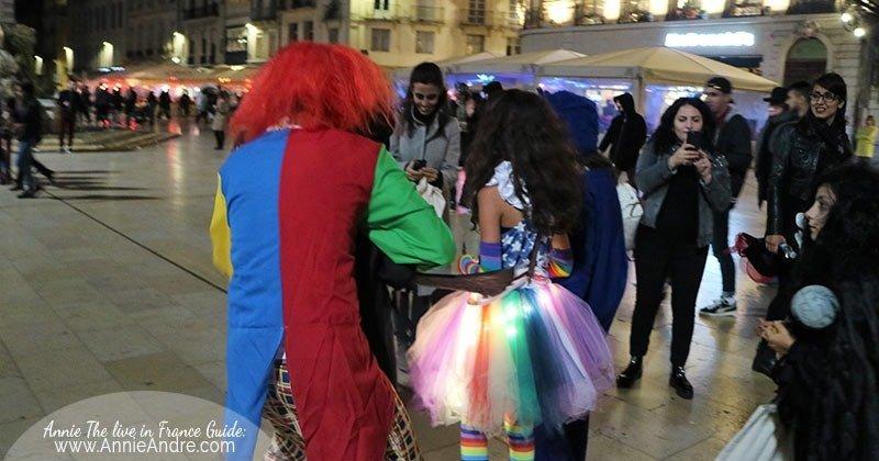 trick-or-treating along la place de la comedie in Montpellier France