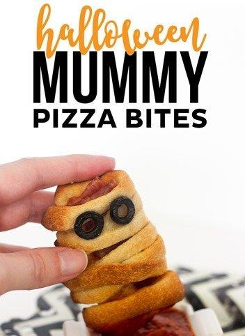 An Apero Dinatoire Halloween party Mummy Pizza Bites