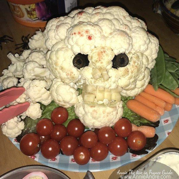 An Apero Dinatoire Halloween party skull cauliflower head & vegetable platter