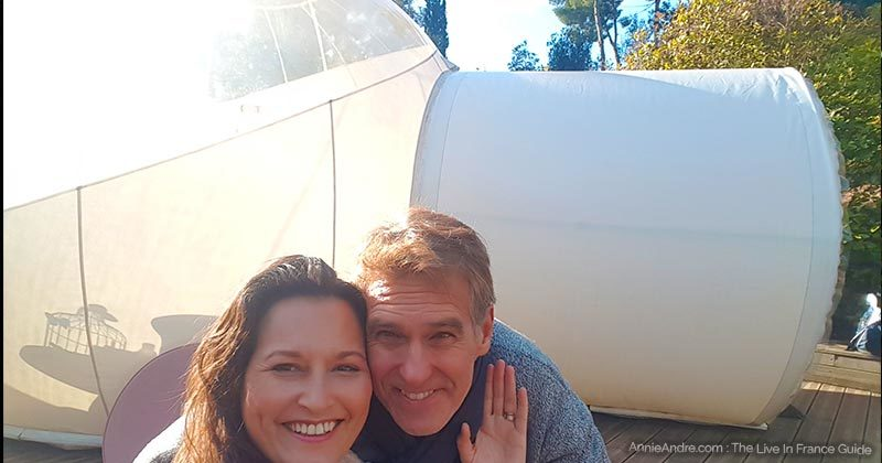 Blake and I at the Attrap reves bubble hotel near Marseille France
