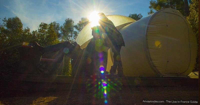 Glamping at a bubble hotel at sunset in the South of France