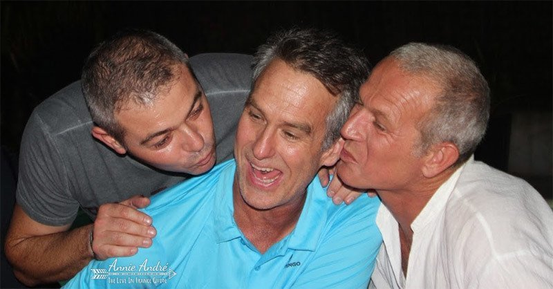 """The only 2 men my husband does """"la bise with"""""""