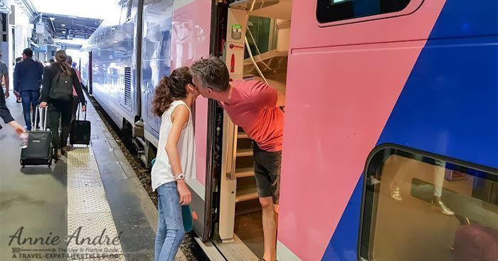 blake kissing our daughter au revoir at the train statin