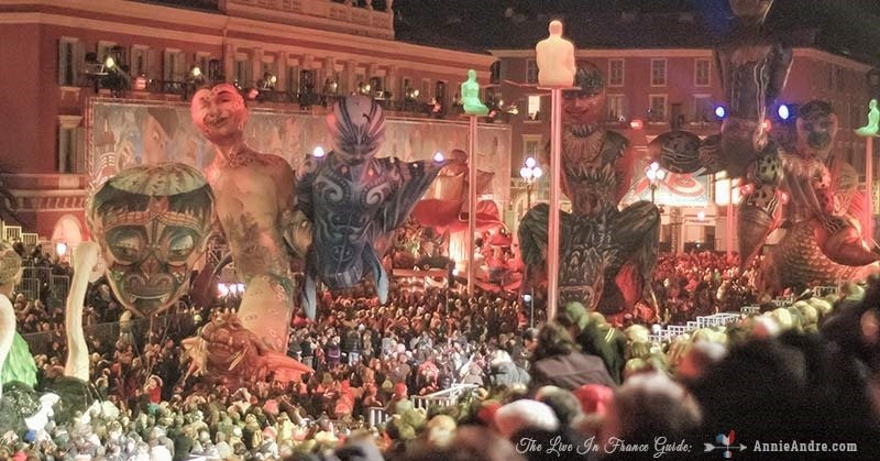 Huge crowds watching the Carnival in Nice