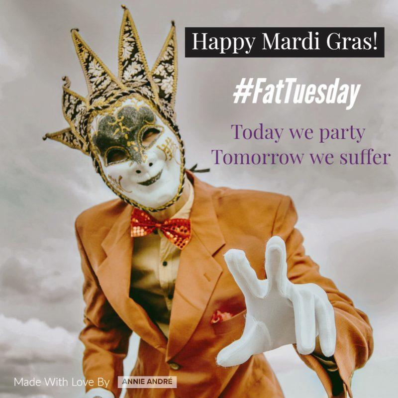 PHOTO of mardi gras disguised in mardi gras costume