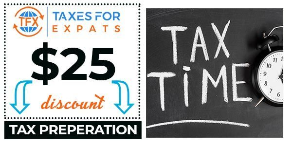 COUPON for $25 dollars off Taxes for expats preparation