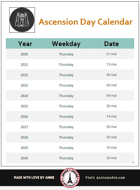 Ascension-Day-Calendar-2020-2030