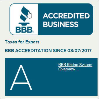 BBB rating for TaxesForExpats.com