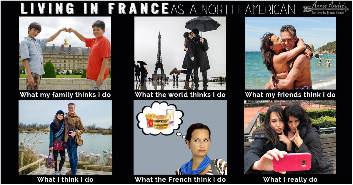 What people think I do vs what I really do travel meme about Living in France