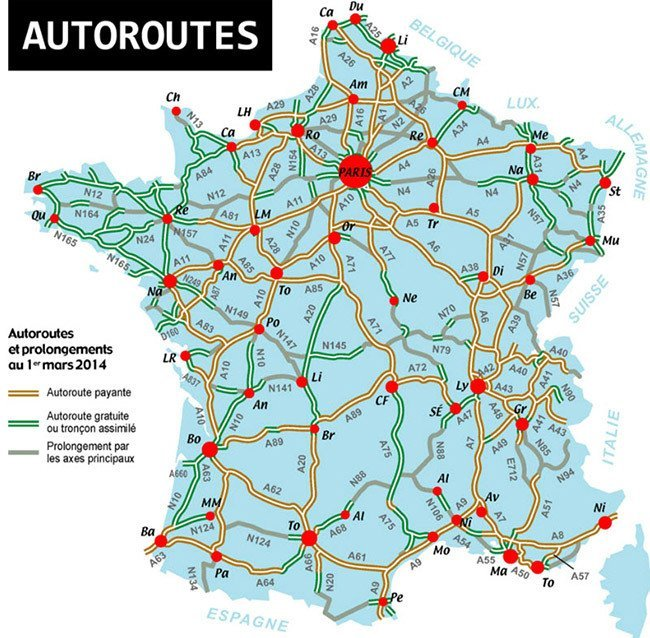 Autoroutes in France map