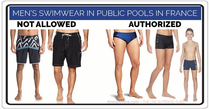 French law: type of mens suits approved for public swimming pools in France