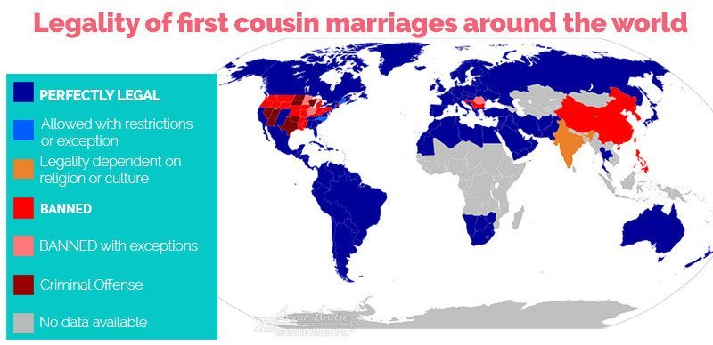 Map of world showing legality of first cousin marriages