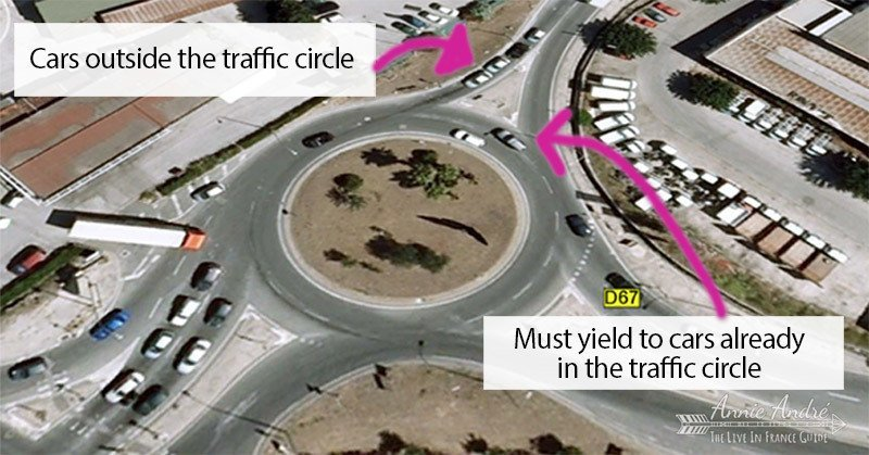 Traffic circle rules for yielding