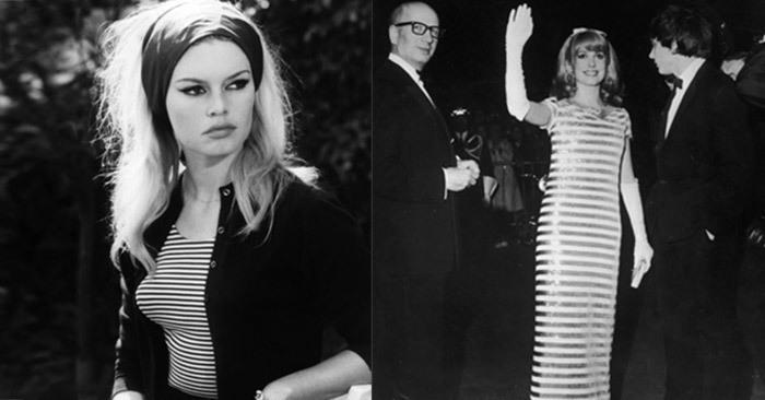 Brigitte-Bardot-Le-Mépris-Catherine-Deneuve; French striped shirt and dress