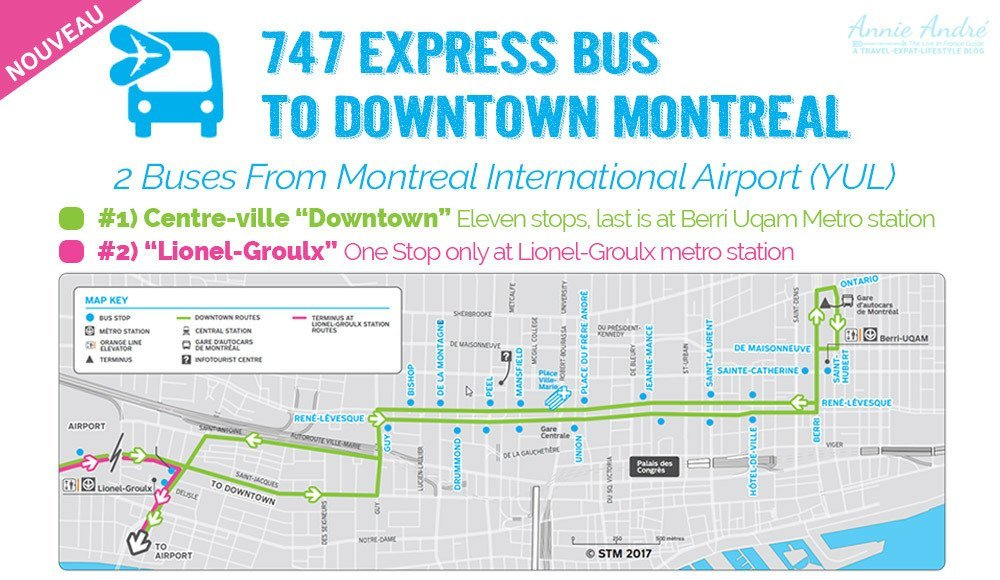 Taking The 747 Express Bus How To Get To Downtown Montreal From The Airport