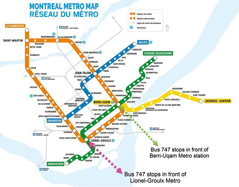 Taking the 747 Express Bus: How To Get To Downtown Montreal From the on