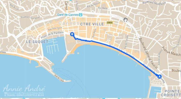 map of Cannes's famous shopping street is-La-Croisette