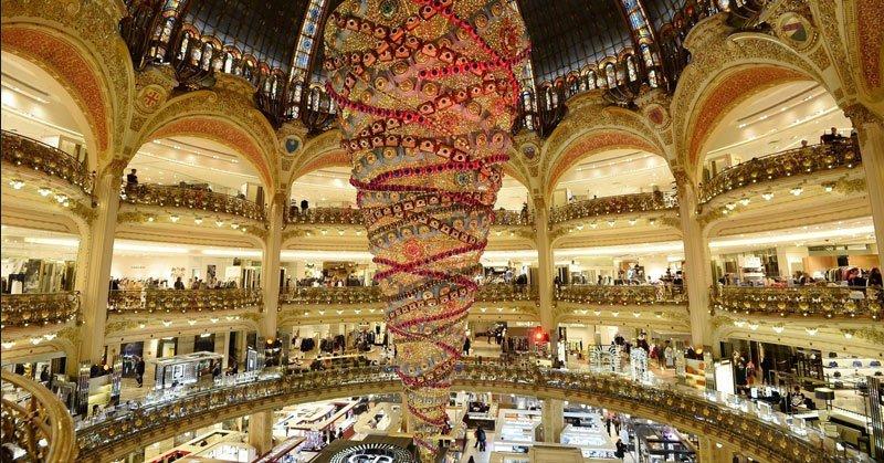 Paris-Boulevard-Haussman million dollar Haussman apartments and the world famous Galeries Lafayette