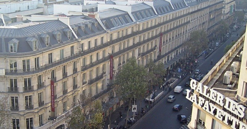 Paris-Boulevard-Haussmann million dollar Haussmann apartments and the world famous Galeries Lafayette