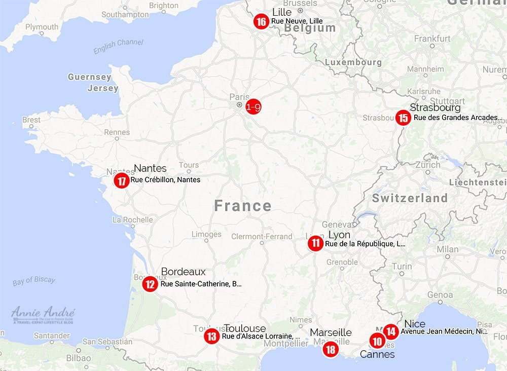 map-of-popular shopping-streets in France but outside of Paris